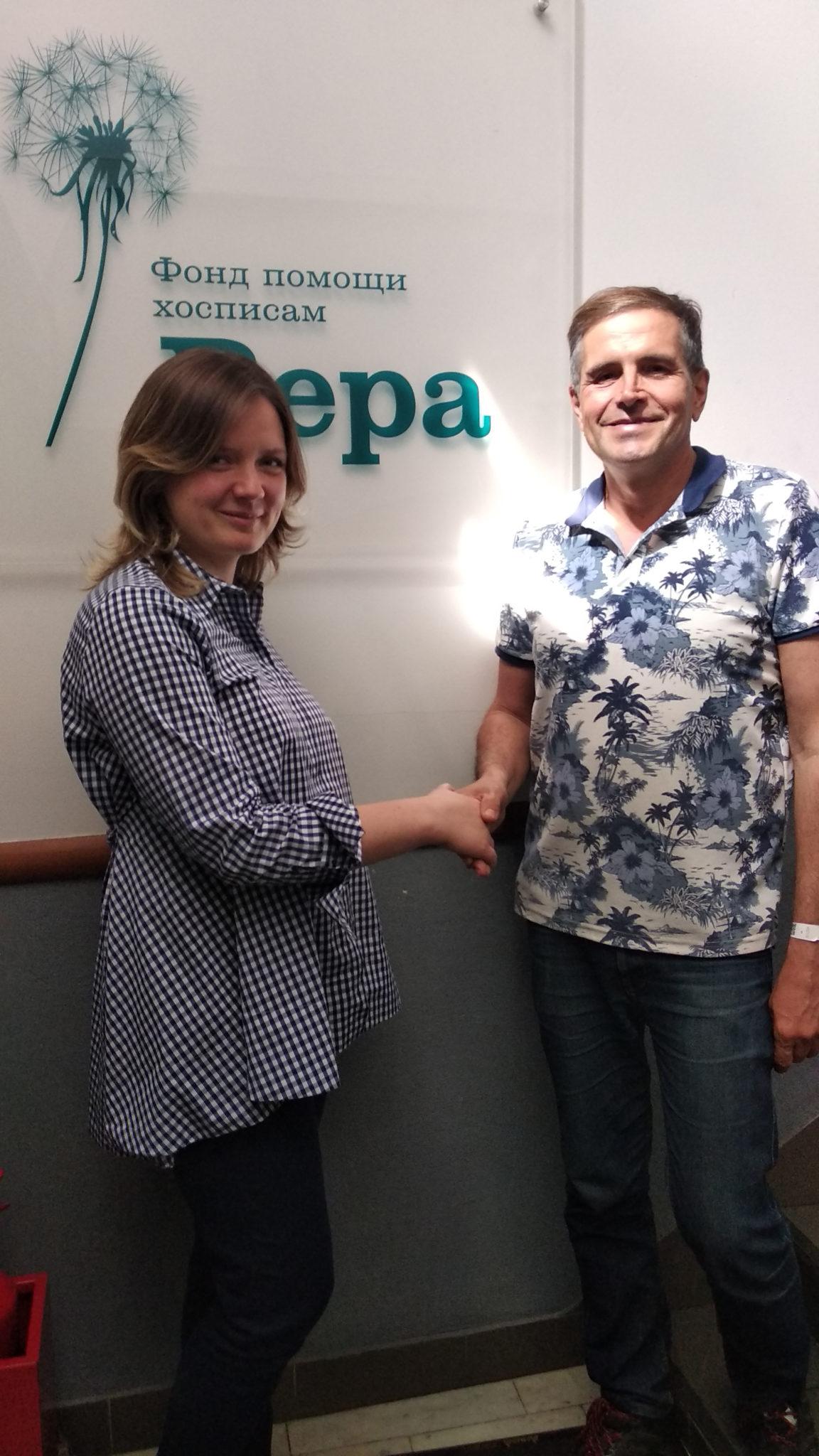 Во время поездки в Москву встретился с руководителем фонда помощи хосписам «Вера» Ю. Матвеевой.